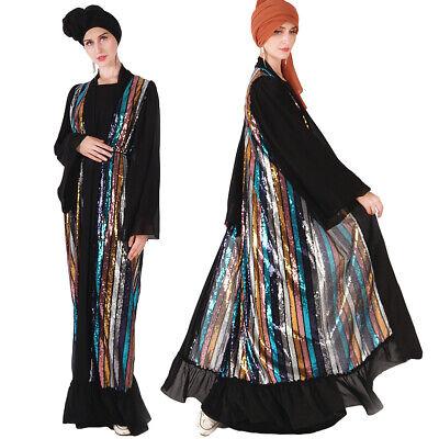Abaya Muslim Women Sequnis Dress Open Cardigan Islam Loose Maxi Robe Kimono New