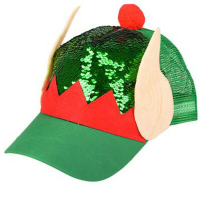 Elf Sequin Christmas Sweater Party Snapback Mesh Trucker Hat Cap  - Elf Cap