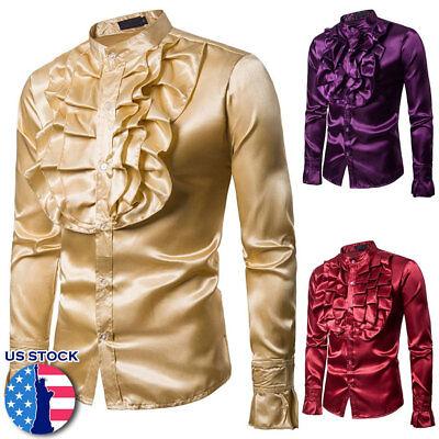 Men Faux Silk Satin Ruffle Shirt Tops Long Sleeve Fancy Costume Victorian Retro](Ruffle Shirt Mens)