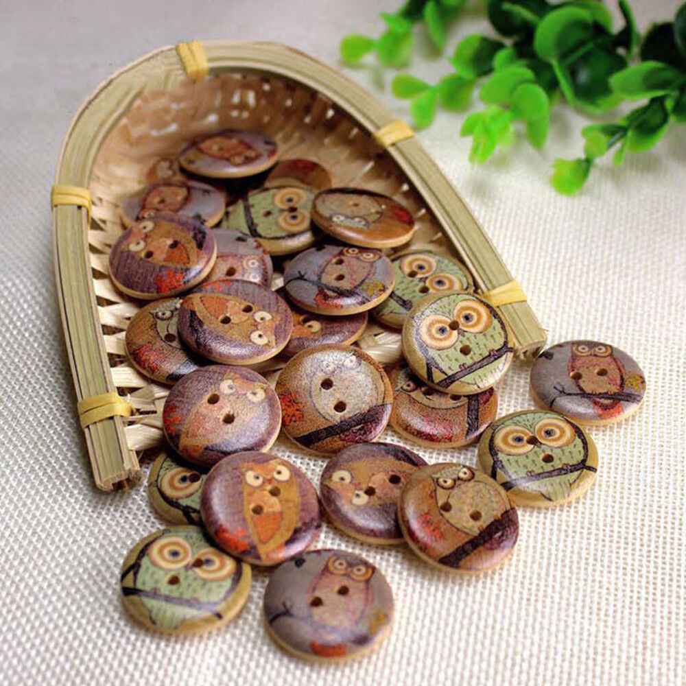 20mm 50pcs 2 Hole Mixed Antique car Round Wood Buttons Decor Sewing Scrapbooking