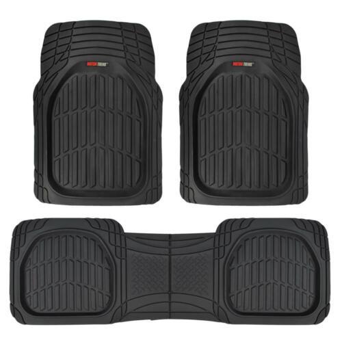 FlexTough Shell Rubber Floor Mats Black Heavy Duty Deep Channels for Car 3pc Set