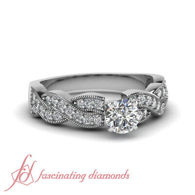 .90 Ct Round Cut H-Color Diamond Engagement Ring Pave Set With Milgrain 14K GIA