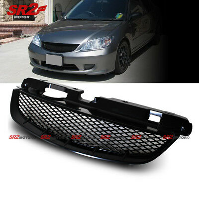 - Mesh ABS Black Front Hood Grill Grille fits 2004-2005 Honda Civic Coupe Sedan