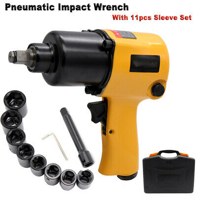 Air Pneumatic Impact Wrench Tire Remoual 12 Drive Rattle Gun W 11 Sleeves Us