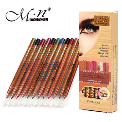 Menow 12 Colors/set Silky Oriental Wood Pencil Glitter Eye Liner Brow Pen Makeup