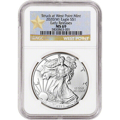 2020-(W) American Silver Eagle - NGC MS69 - Early Releases - Star Label