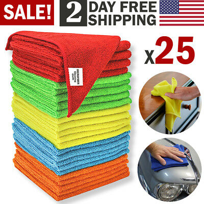 Microfiber Cleaning Cloth Set of 25 Towel Rag Car Polishing No Scratch Detailing