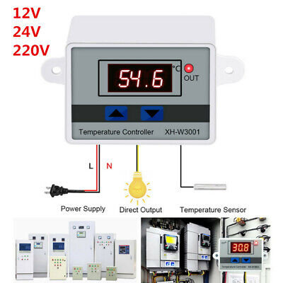 Digital Led Temperature Controller Thermostat Control Switch Xh-w3001 1224220v
