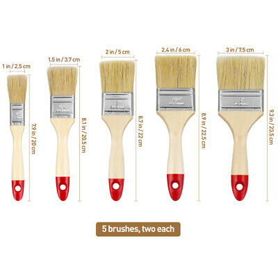 """10 Pack Paint Brush Set All Purpose Disposable Brushes 8"""" 9"""" Home DIY Decorating"""