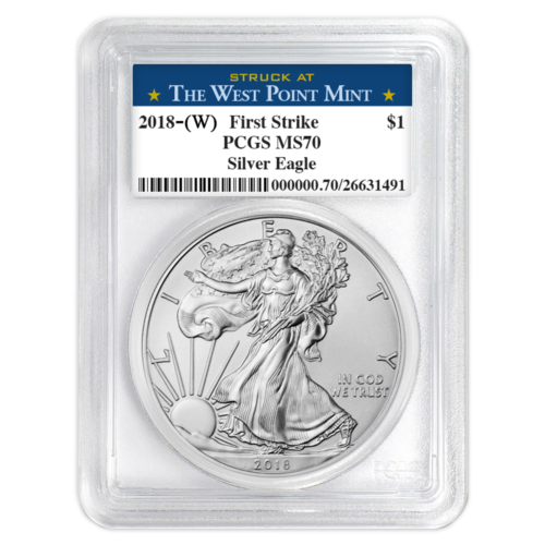 Купить 2018 (W) $1 American Silver Eagle PCGS MS70 West Point First Strike Label