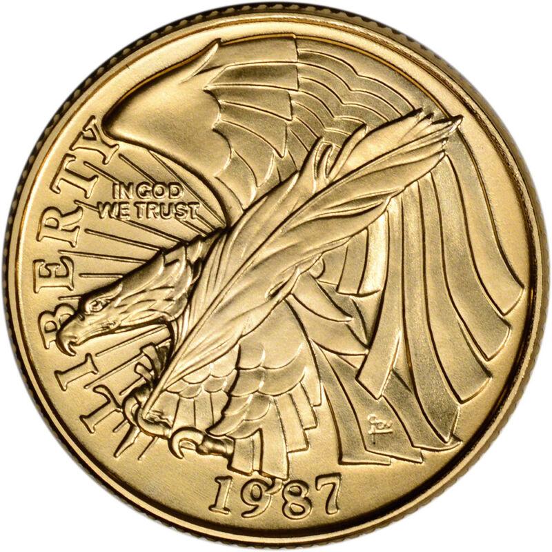 1987-W US Gold $5 Constitution Commemorative BU - Coin in Capsule