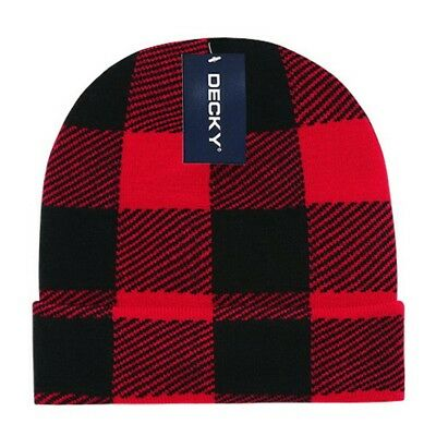 Red Watch Knit Beanie (Red Black Plaid Long Watch Cap Beanie Knit Winter Stocking Hat Snowmobile)