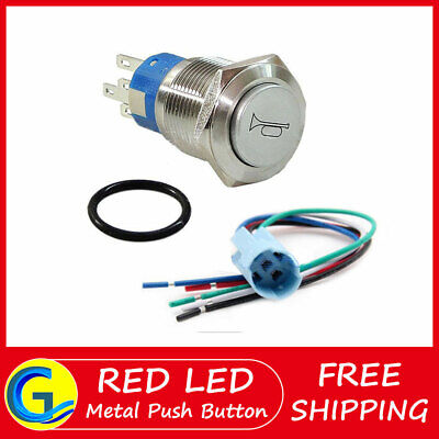 12v 16mm Momentary Red Led Marine Car Stainless Horn Push Button Light Switch
