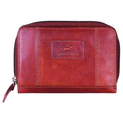 Mancini Casablanca Ladies' RFID Small Clutch Wallet 8700183-Red Red Ladies Small Wallets