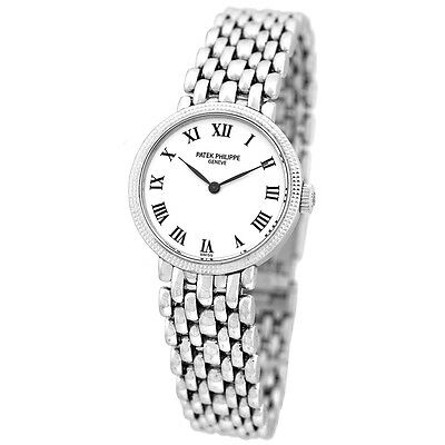 PATEK PHILIPPE 18K White Gold Calatrava Lady Bracelet Mechanical Box Warranty -