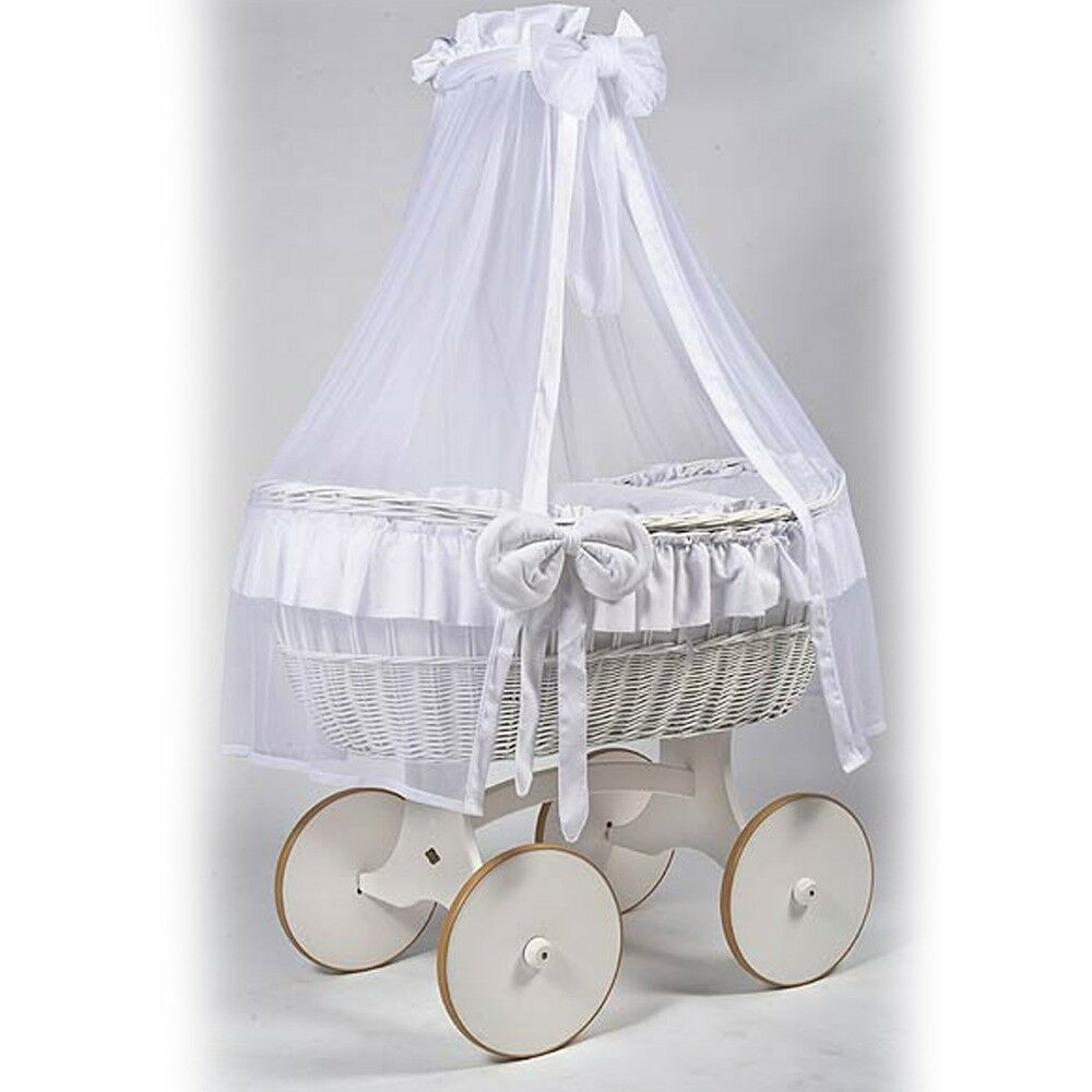ORIGINAL * Mj Mark Ophelia Due Solid White Crib * with drape holder rod mosquito net, Cot, Cot-bed