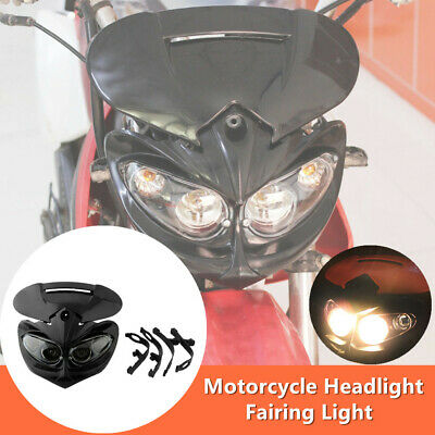 Sport Motorcycle Motocross Headlight Fairing Light Dual Street Fighter Lamp Bulb