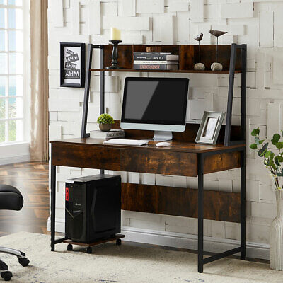 Computer Desk Whutch Shelf Drawers Writing Desk Table Home Office Workstation