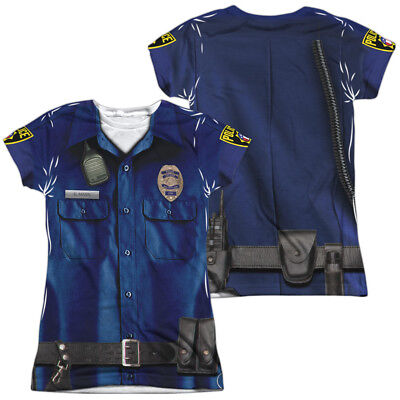 Police officer Allover Front Back costume uniform outfit  Ladies Jr T-shirt top