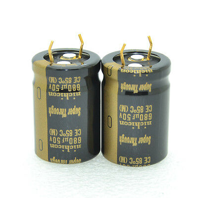 2pcs Nichicon Kg Super Through 680uf 50v 20x30mm 10mm Capacitors-4158