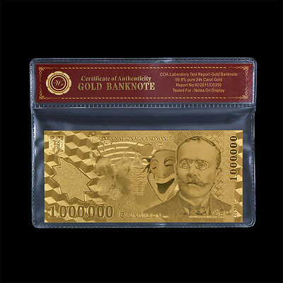 WR Gold Romania Bill 1000000 Lei Gold Banknote 2003 Polymer Note In Sleeve