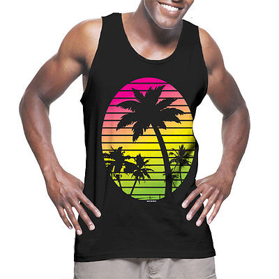 Palm Tree Scene (Palm Tree Scene - Neon Coconut Beach Sun Waves Cali  Mens)