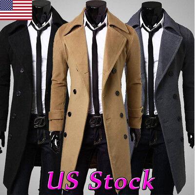 - Men's Gentlemen Double Breasted Long Trench Coat Jacket Peacoat Winter Overcoat