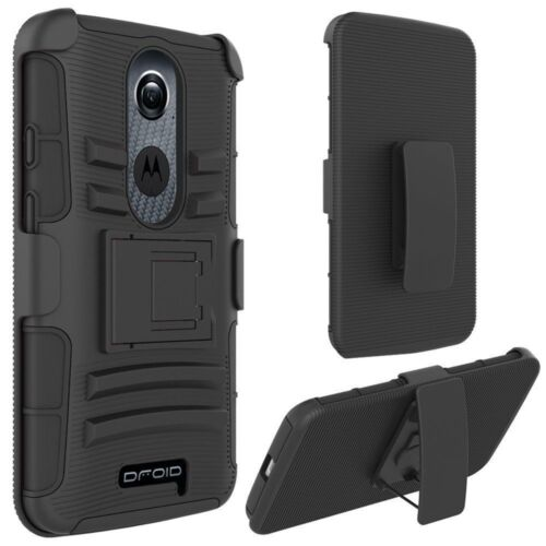 Droid Turbo 2 Verizon Case Heavy Duty Holster Kickstand Belt Clip Cover Black