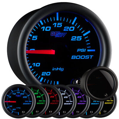 GlowShift 52mm Tinted 7 Color PSI Turbo Boost Pressure Gauge Meter w Tinted Face