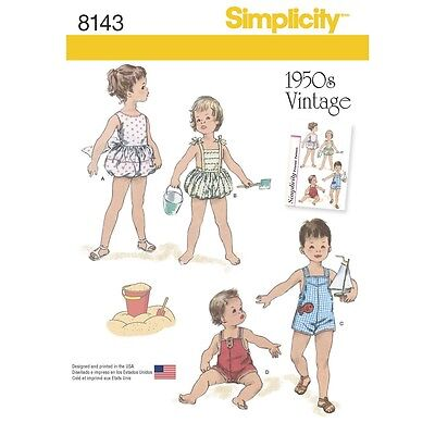 SEWING PATTERN! MAKE BABY BOY~GIRL VINTAGE STYLE 50'S PLAYSUITS! PREEMIE~24 LBS!](50s Girl Fashion)