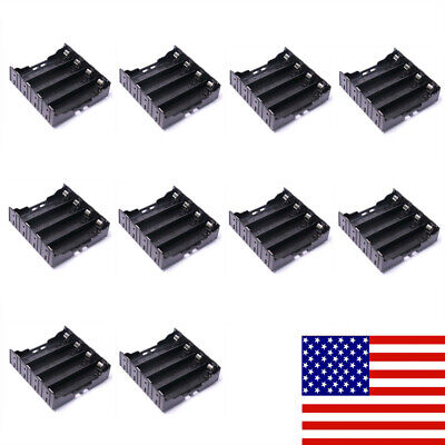 10Pcs Black Plastic 4 Cell 18650 Battery Holder Case Storage Box with Leads Pins