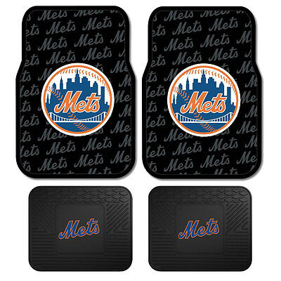 New Set Mlb New York Mets Car Truck Front   Back All Weather Rubber Floor Mats