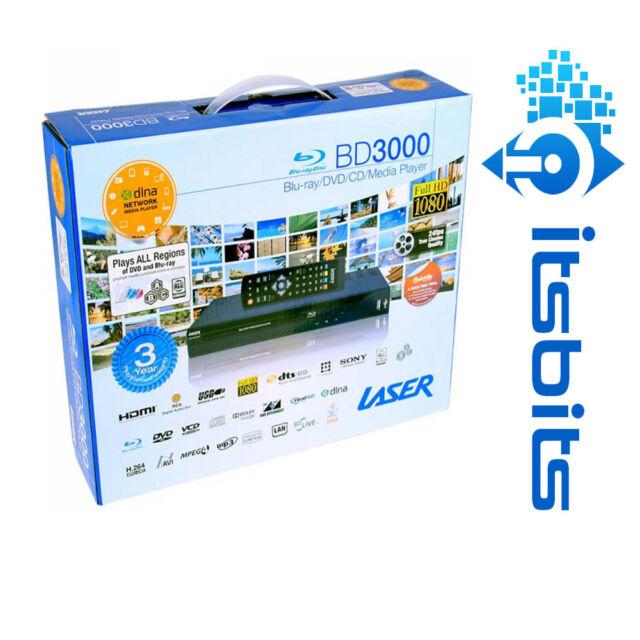 LASER BLU-BD3000 MULTI REGION BLU-RAY DVD CD MEDIA PLAYER HDMI RCA RJ45 NEW