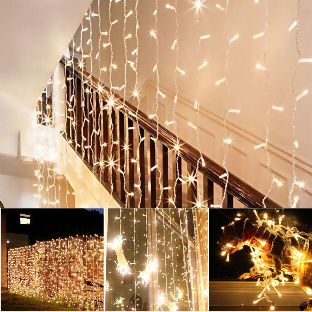 led eisregen lichterkette eiszapfen lichtervorhang vorhang aussen 3x3m 300led eur 14 99. Black Bedroom Furniture Sets. Home Design Ideas