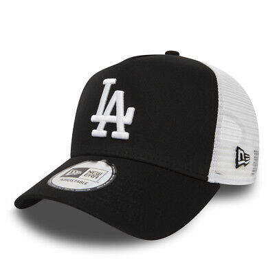 NEW ERA MEN BASEBALL CAP.MLB LA DODGERS BLACK CLEAN A FRAME MESH TRUCKER HAT 8