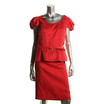 $189 Nipon Boutique Red Jacguard Peplum Belted 2PC Skirt Outfit Suit Sz 10 NWT
