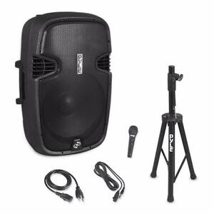 "PYLE PPHP155ST 15"" Bluetooth Active Powered Wireless PA 1500 Watt DJ Speaker System w/wired Microphone and Tripod Stand"
