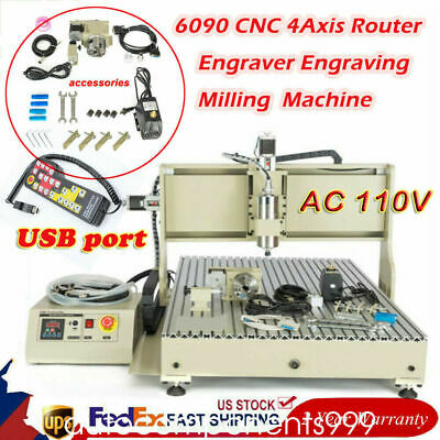 4axis Cnc 6090 2.2kw Usb Port Router Milling Engraving Cnc Cutting Machinerc Us
