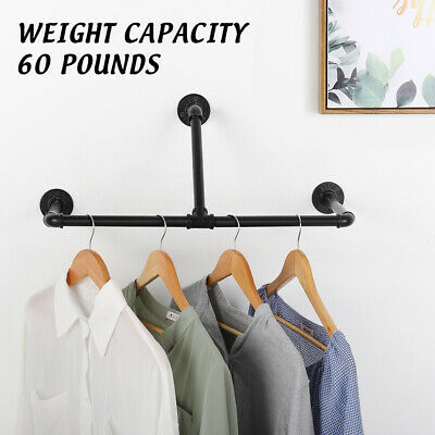 Industrial Wall Mounted Pipe Shelf Closet Organizer Garment Rack Display Stand
