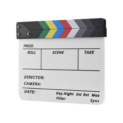 Movie Film TV Slate Clapper Board Dry Erase Clapboard Cut Action Scene Decor&Pen (Action Clapboard)