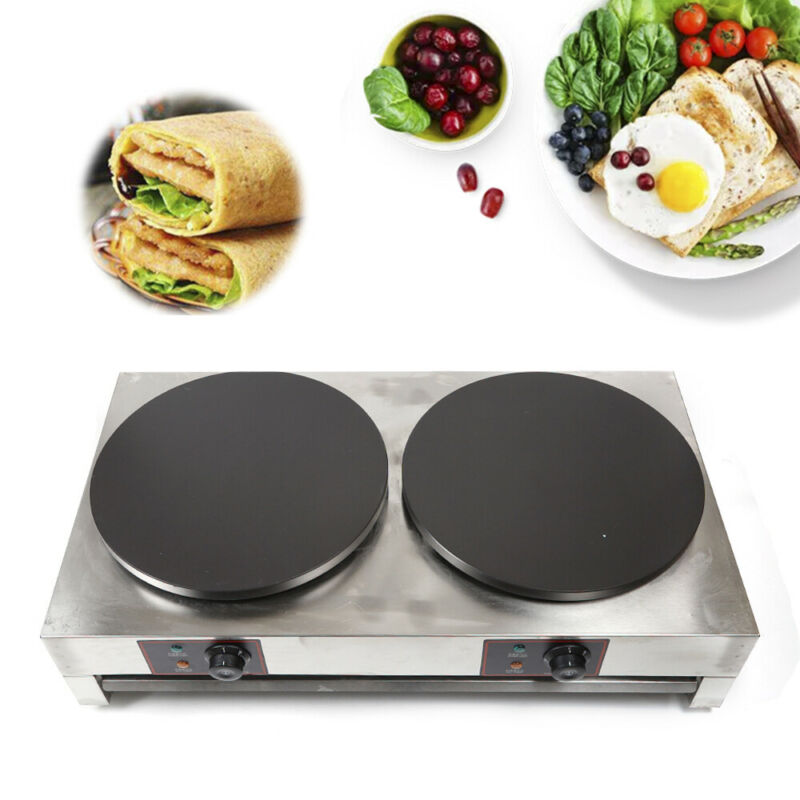 """16"""" Commercial Electric Crepe Maker Pancake Machine Double Hotplate Non Stick US"""