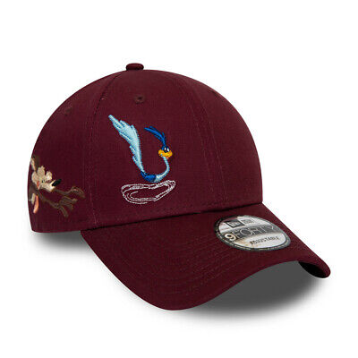 NEW ERA LOONEY TUNES BASEBALL CAP.9FORTY ROADRUNNER MAROON COTTON STRAP HAT S20