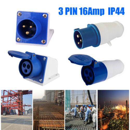 16 AMP IP44 Wall Mount HOOKUP PLUG SOCKET 240V 2P+E CARAVAN CAMPING SITE 3 PIN