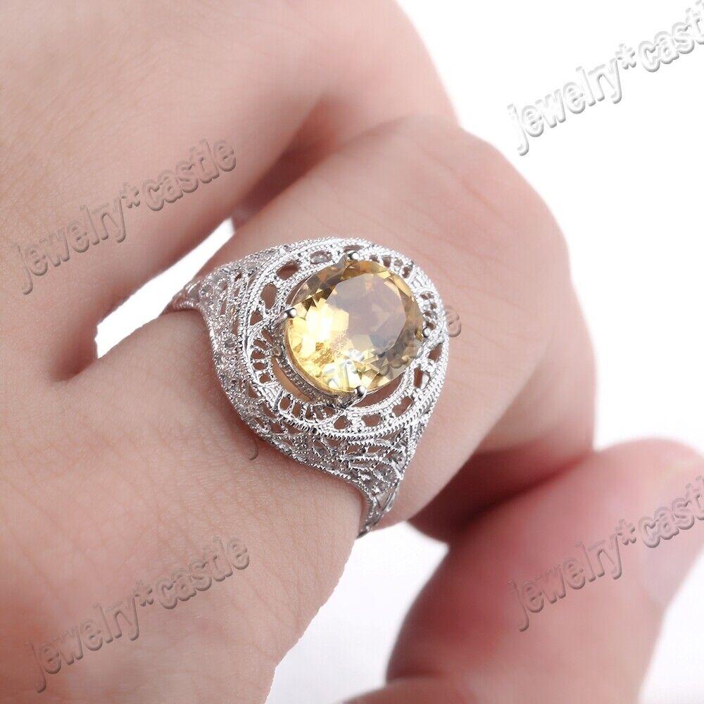 Gemstone Jewelry Citrine Antique 925 Sterling Silver Engagement ...