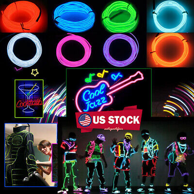 Diy For Halloween (EL Wire 10colors Portable Neon Lights For Parties Halloween Blacklight DIY)
