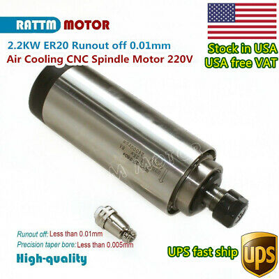 2.2kw 220v Air Cooled Spindle Motor Er20 400hz 24000rpm Cnc Milling Routerusa