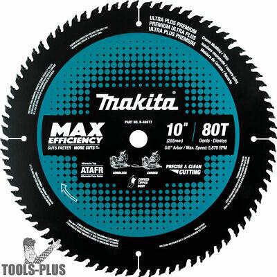 "Makita B-66977 10"" 80T Carbide-Tipped Max Efficiency Miter Saw Blade New"