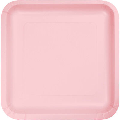 (54 Pack) Classic Pink Square 7-inch Paper Plates Wedding Birthday Shower Party