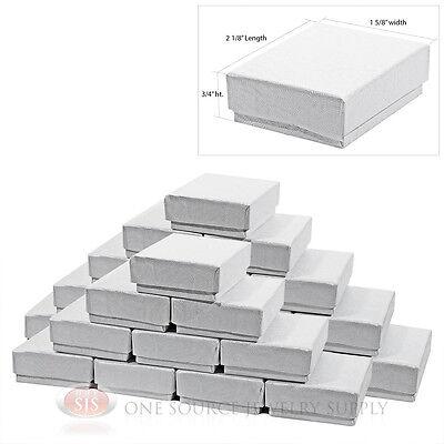 25 White Swirl Cardboard Cotton Filled Jewelry Gift Boxes 2 18 X 1 58 Box