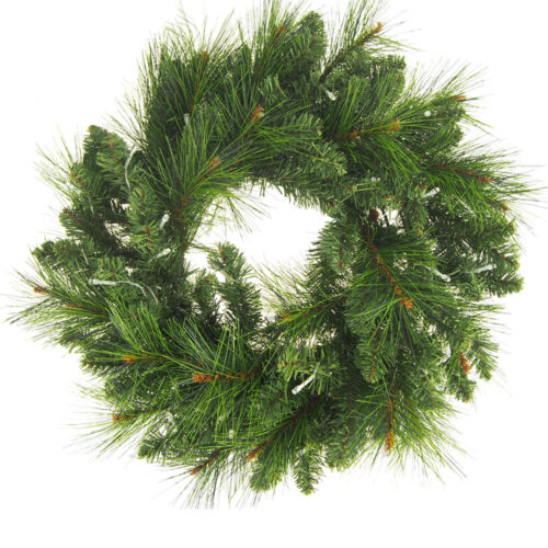 LED Artificial Pine Christmas Wreaths, Green, 22-Inch
